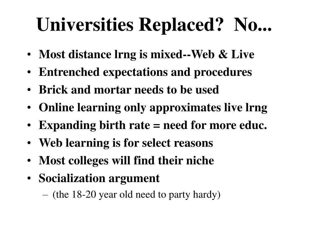 Universities Replaced?  No...