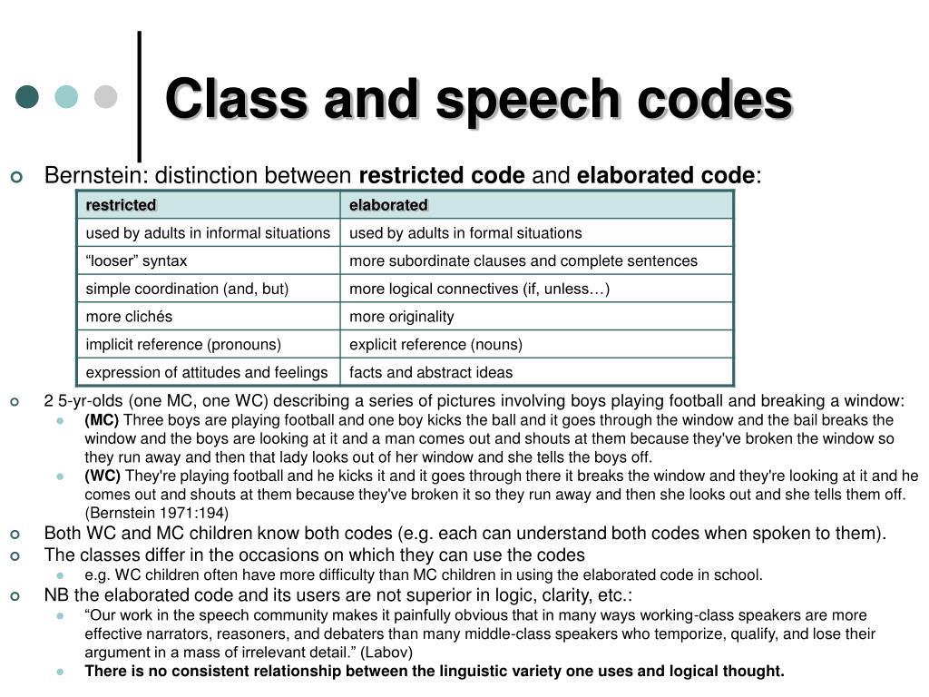 Class and speech codes