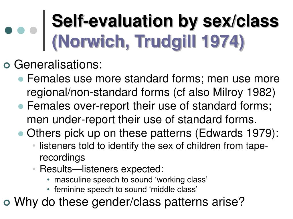Self-evaluation by sex/class
