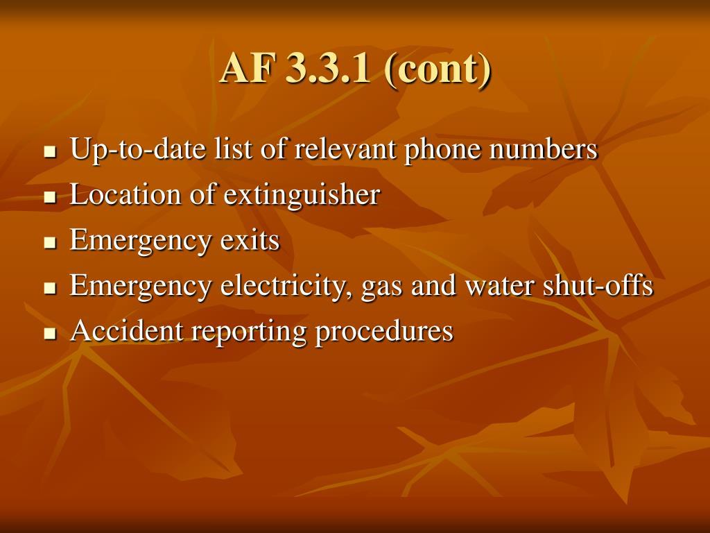 AF 3.3.1 (cont)