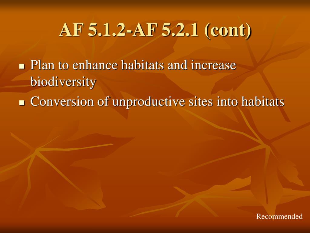 AF 5.1.2-AF 5.2.1 (cont)