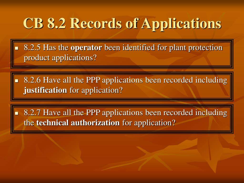 CB 8.2 Records of Applications
