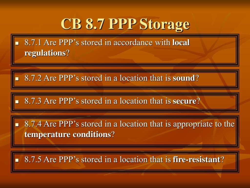 CB 8.7 PPP Storage