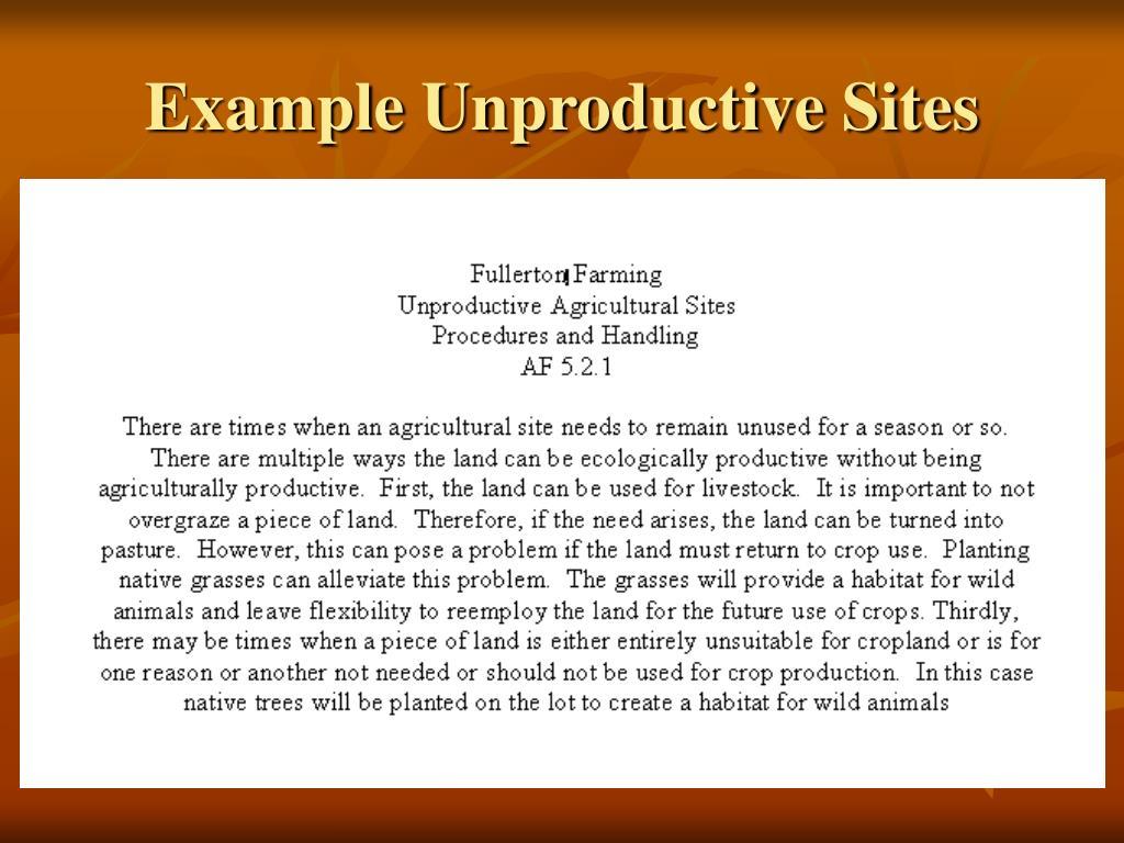Example Unproductive Sites