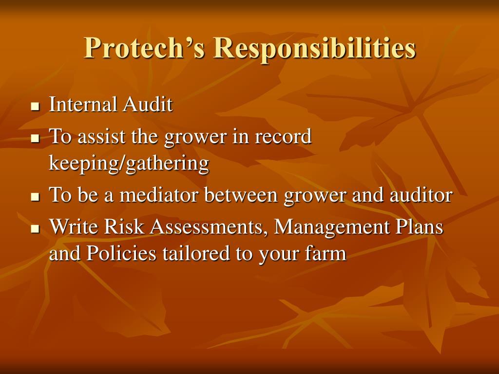Protech's Responsibilities