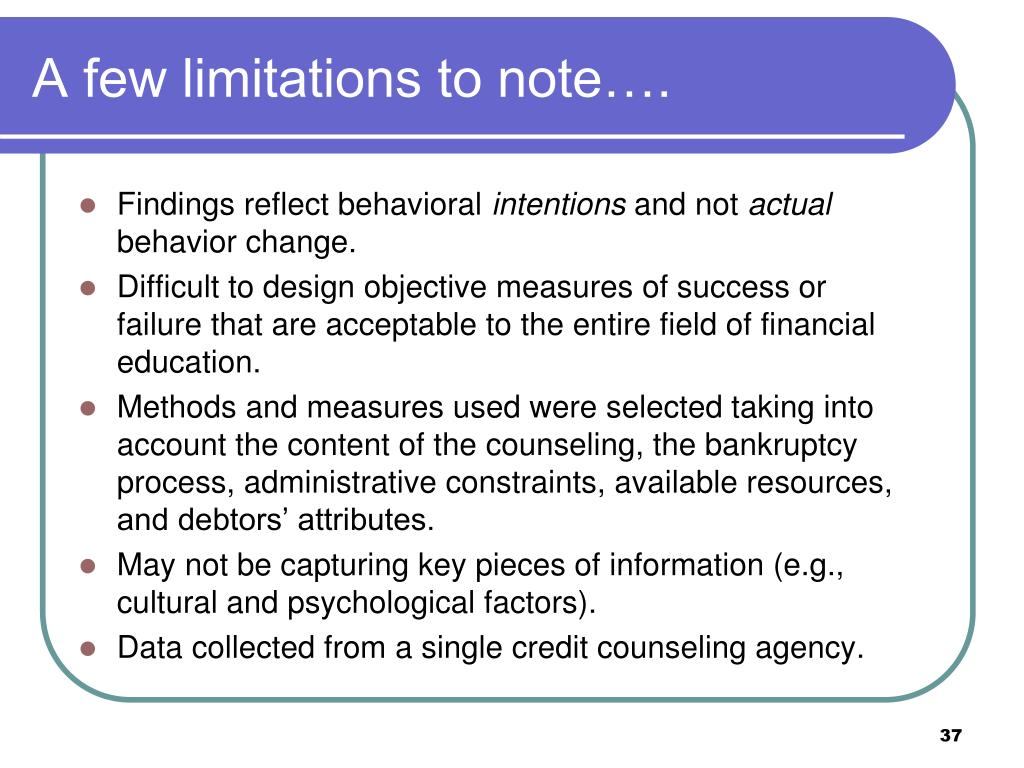 A few limitations to note….
