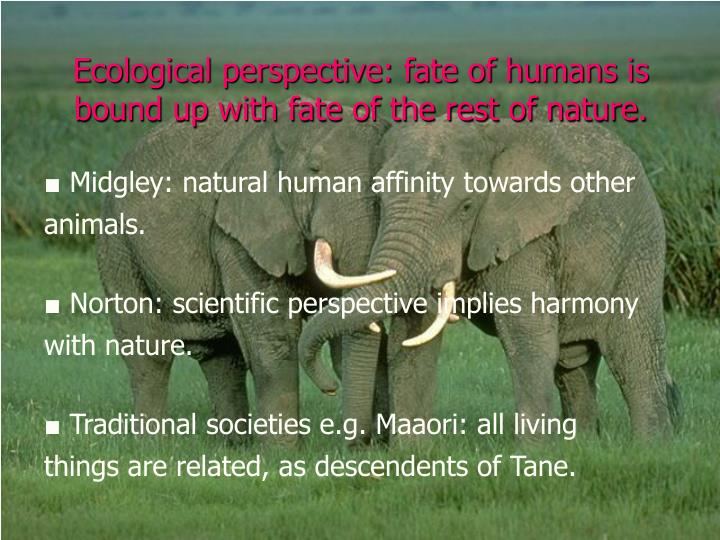 Ecological perspective: fate of humans is bound up with fate of the rest of nature.