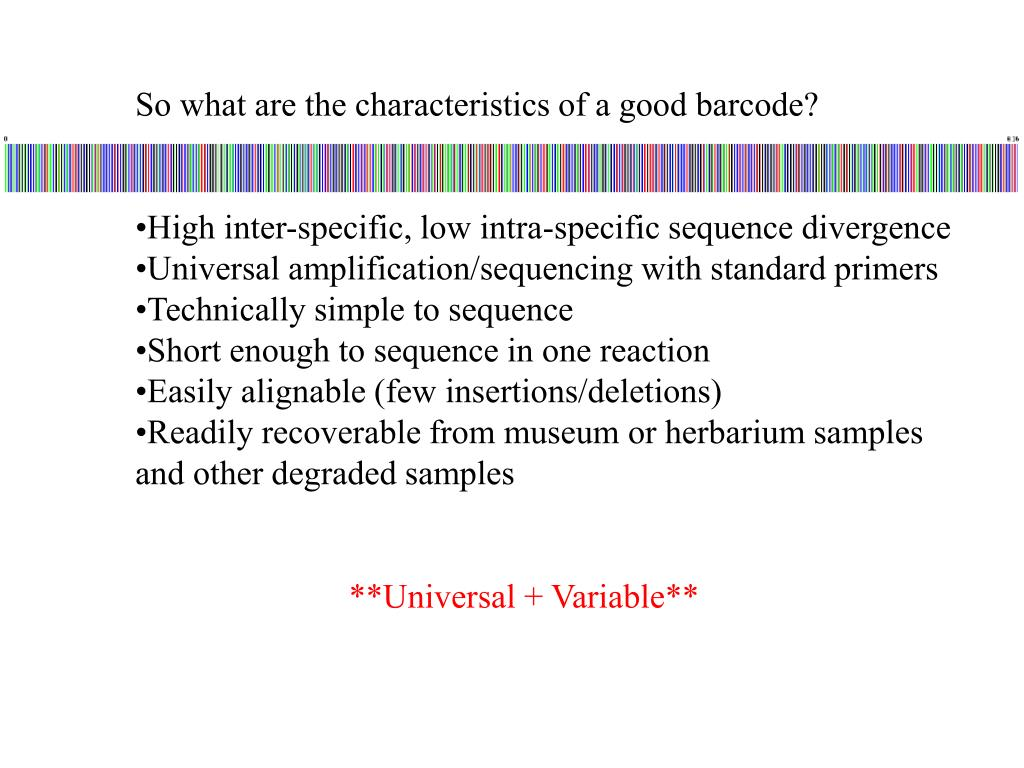 So what are the characteristics of a good barcode?