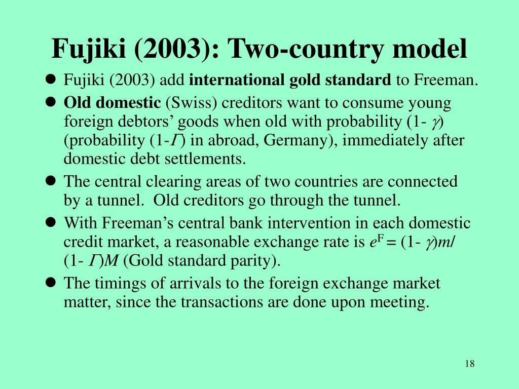 Fujiki (2003): Two-country model