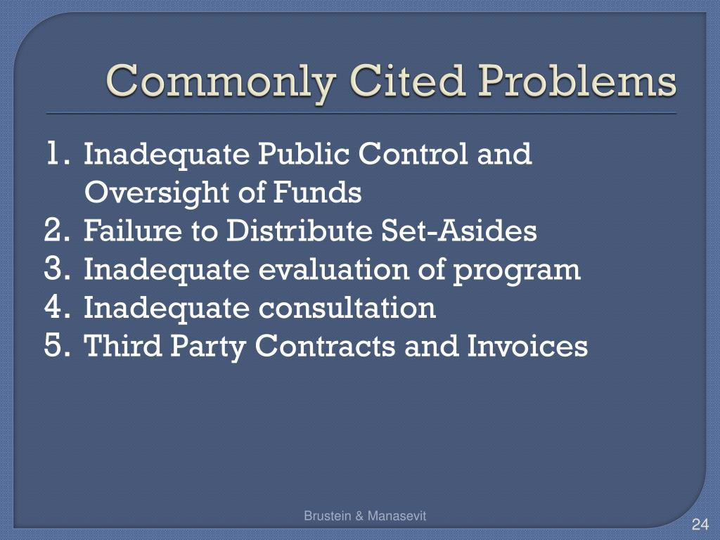 Commonly Cited Problems