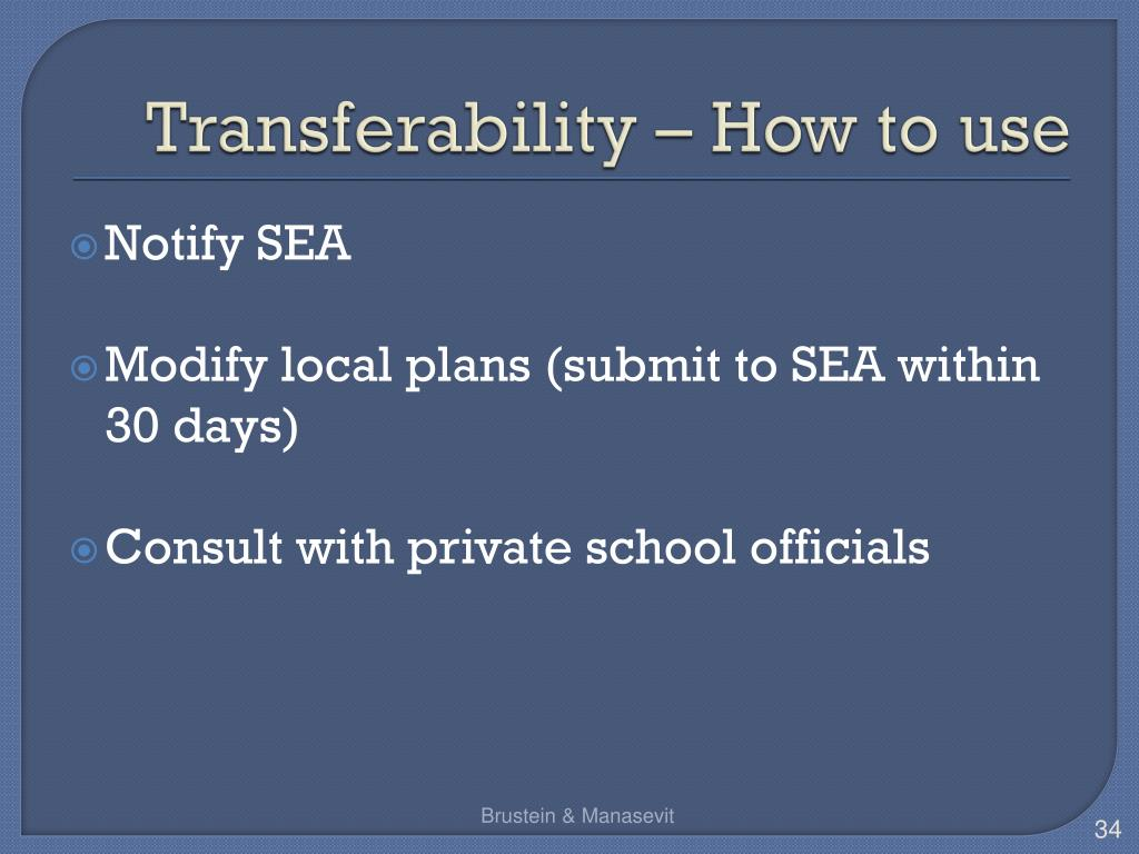 Transferability – How to use