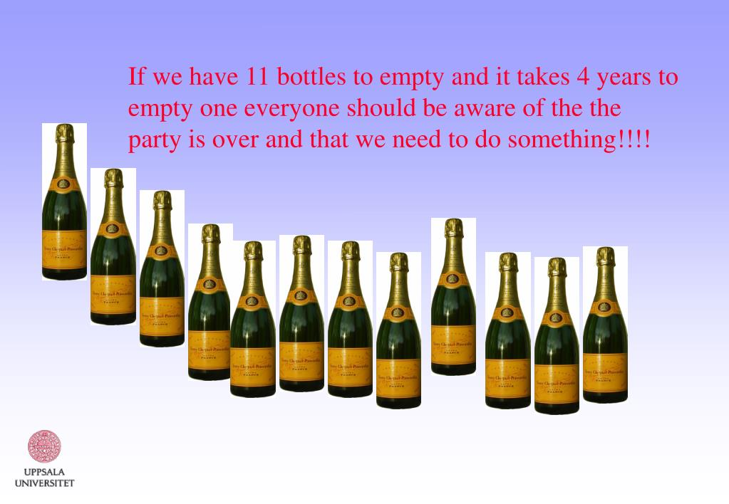 If we have 11 bottles to empty and it takes 4 years to empty one everyone should be aware of the the party is over and that we need to do something!!!!