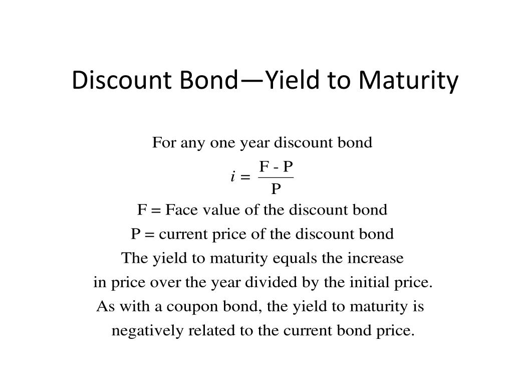 Discount Bond—Yield to Maturity