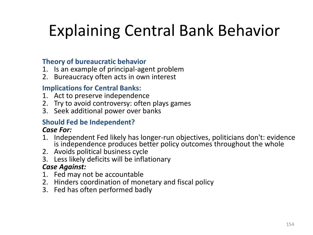 Explaining Central Bank Behavior