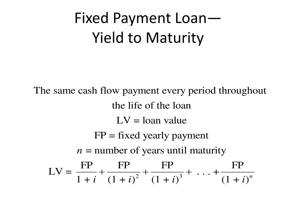 Fixed Payment Loan—