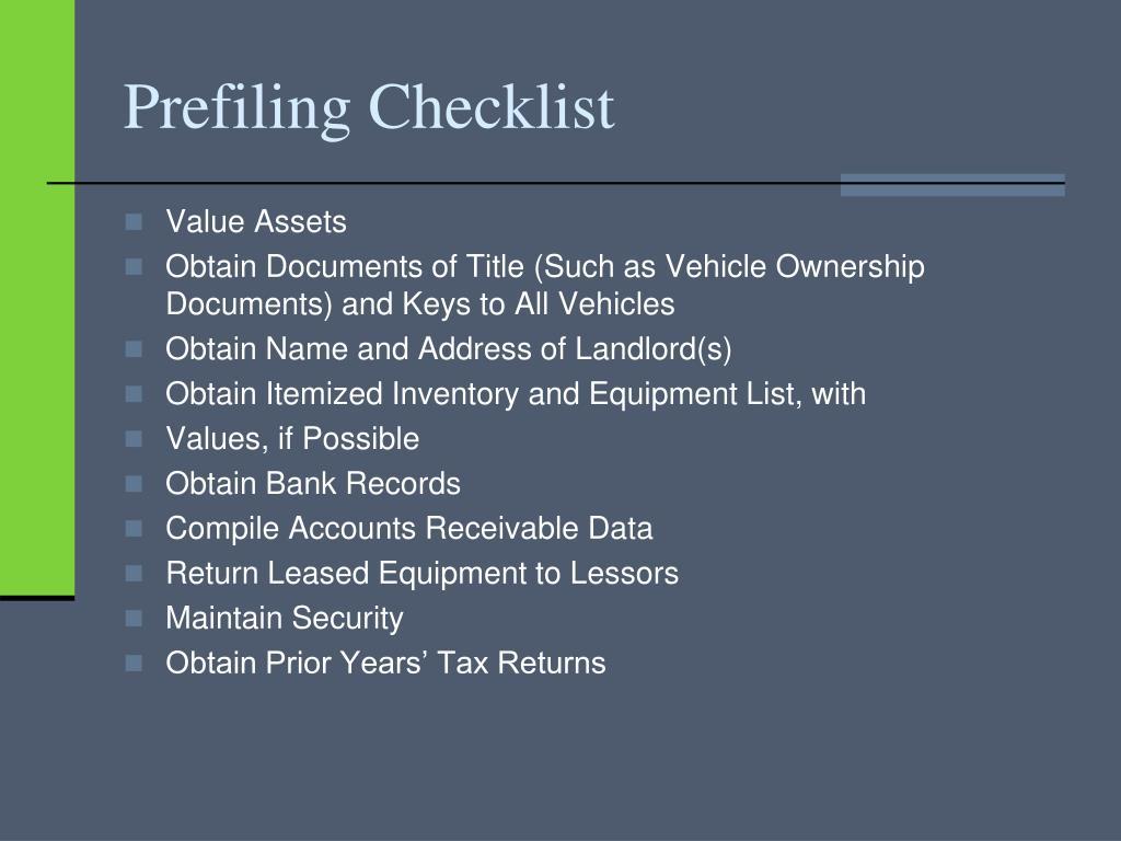 Prefiling Checklist