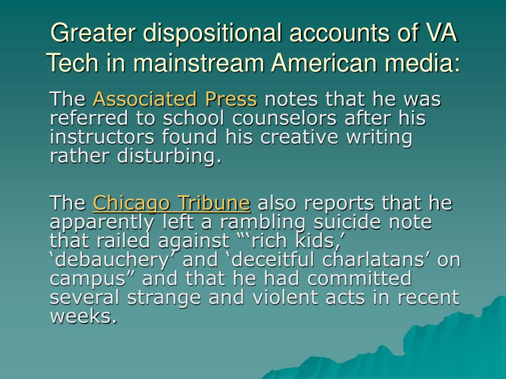 Greater dispositional accounts of VA Tech in mainstream American media: