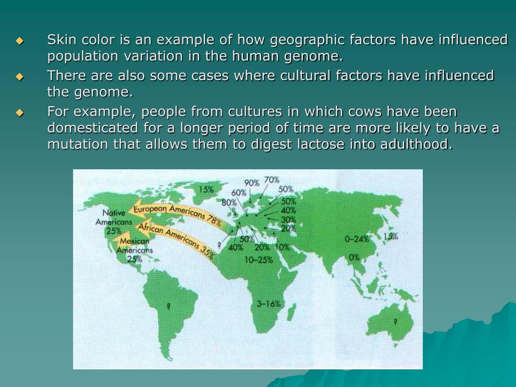 Skin color is an example of how geographic factors have influenced population variation in the human genome.