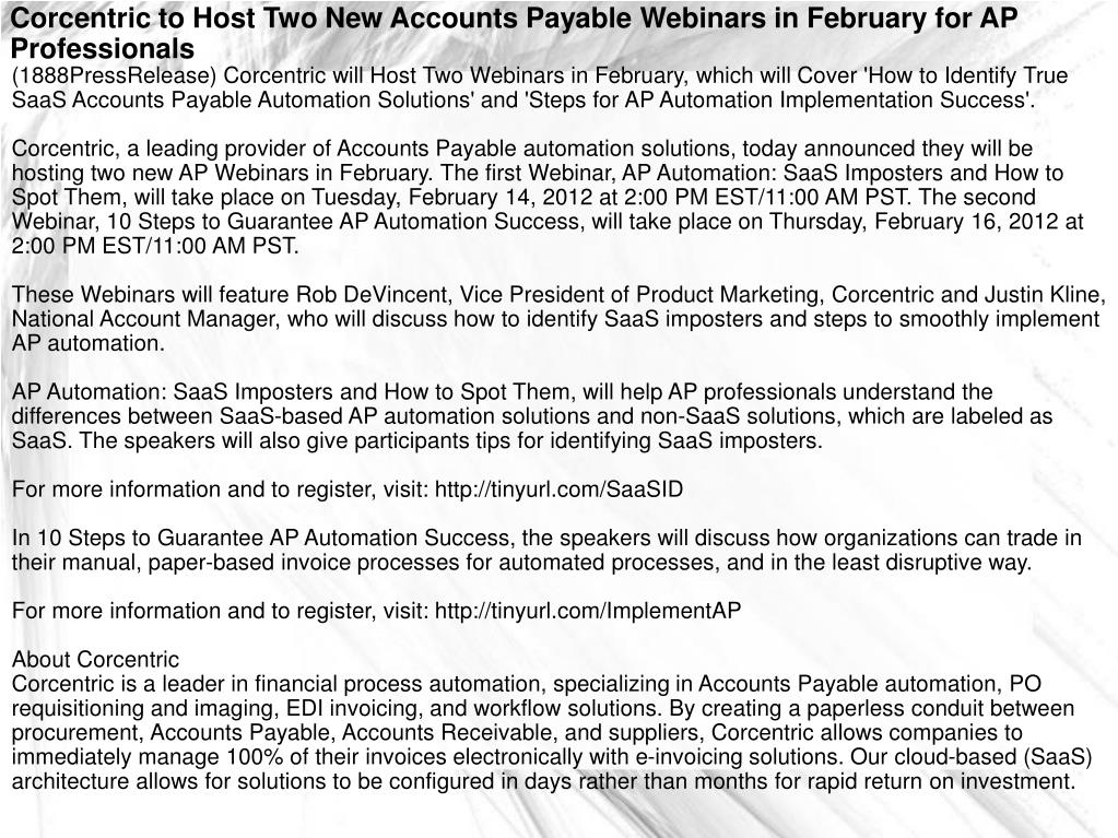 Corcentric to Host Two New Accounts Payable Webinars in February for AP Professionals