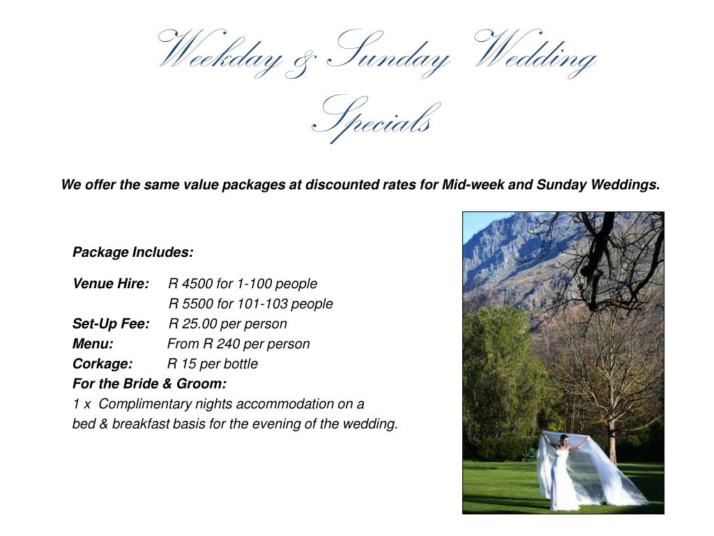 Weekday & Sunday Wedding Specials