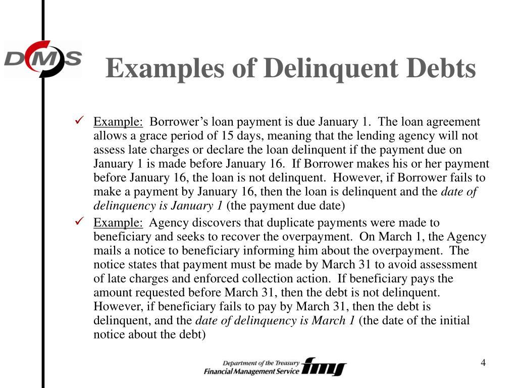 Examples of Delinquent Debts