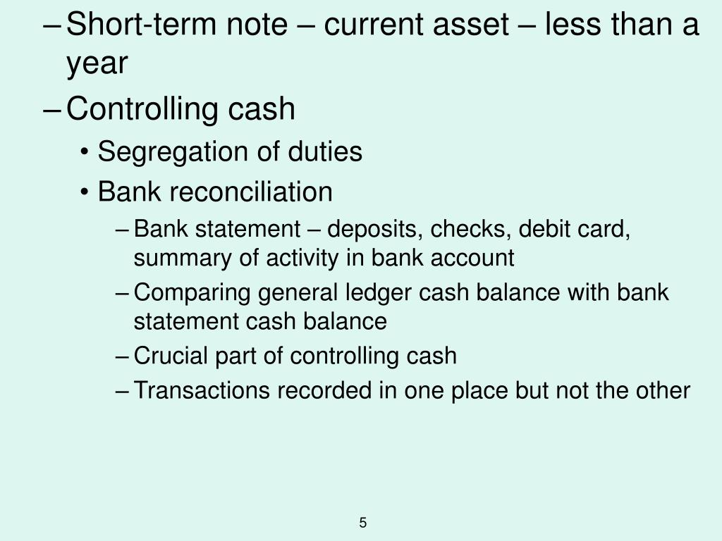 Short-term note – current asset – less than a year