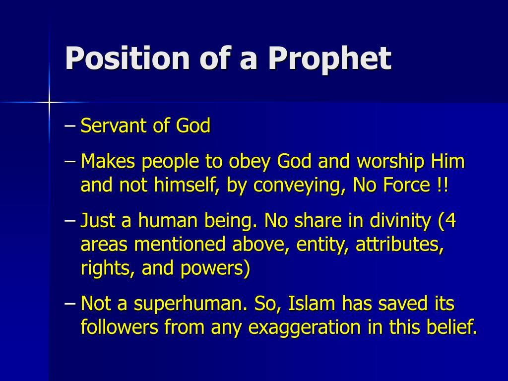 Position of a Prophet