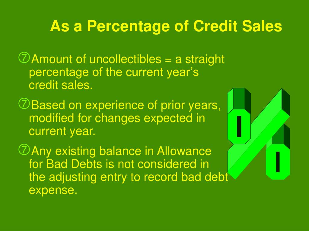 Amount of uncollectibles = a straight percentage of the current year's credit sales.