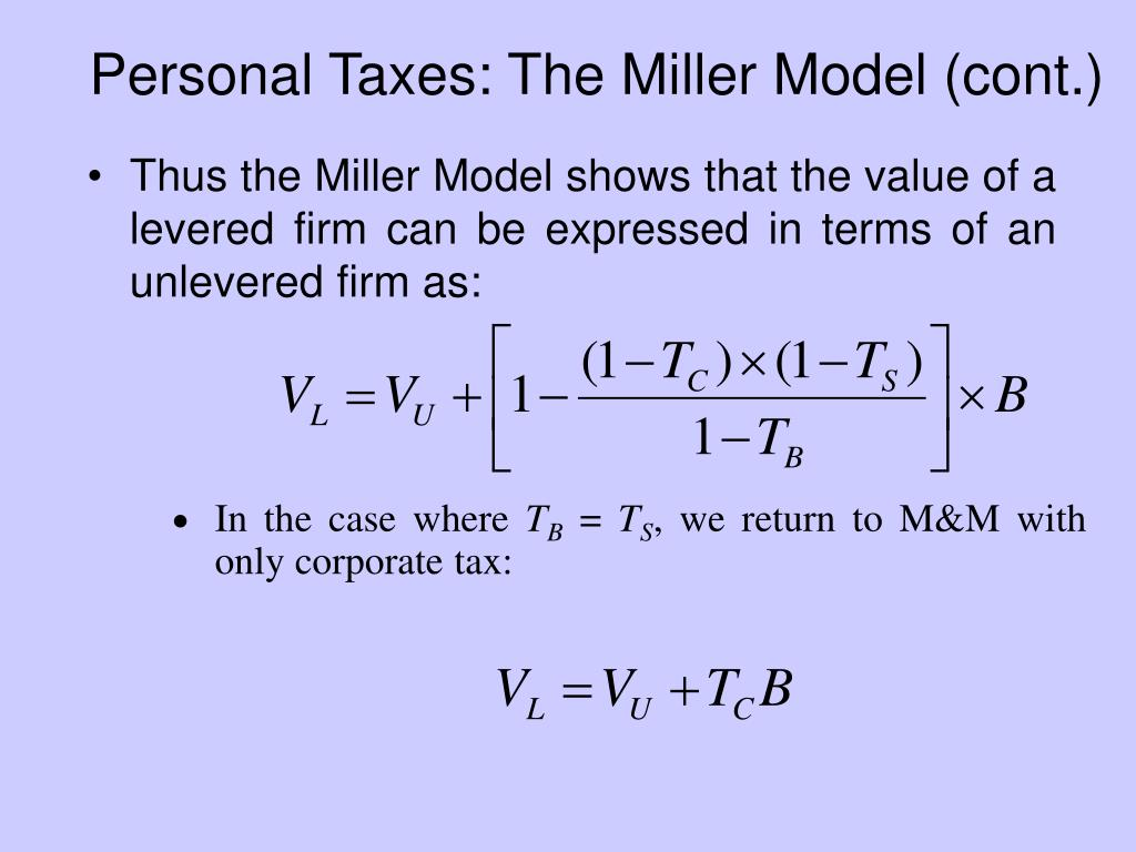 Personal Taxes: The Miller Model (cont.)