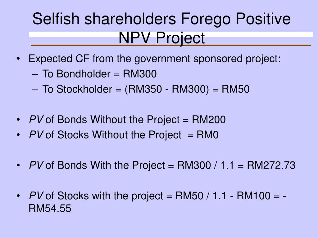 Selfish shareholders Forego Positive NPV Project