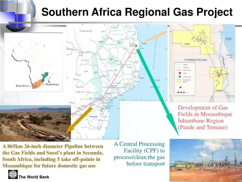 A 865km 26-inch diameter Pipeline between the Gas Fields and Sasol's plant in Secunda, South Africa, including 5 take off-points in Mozambique for future domestic gas use