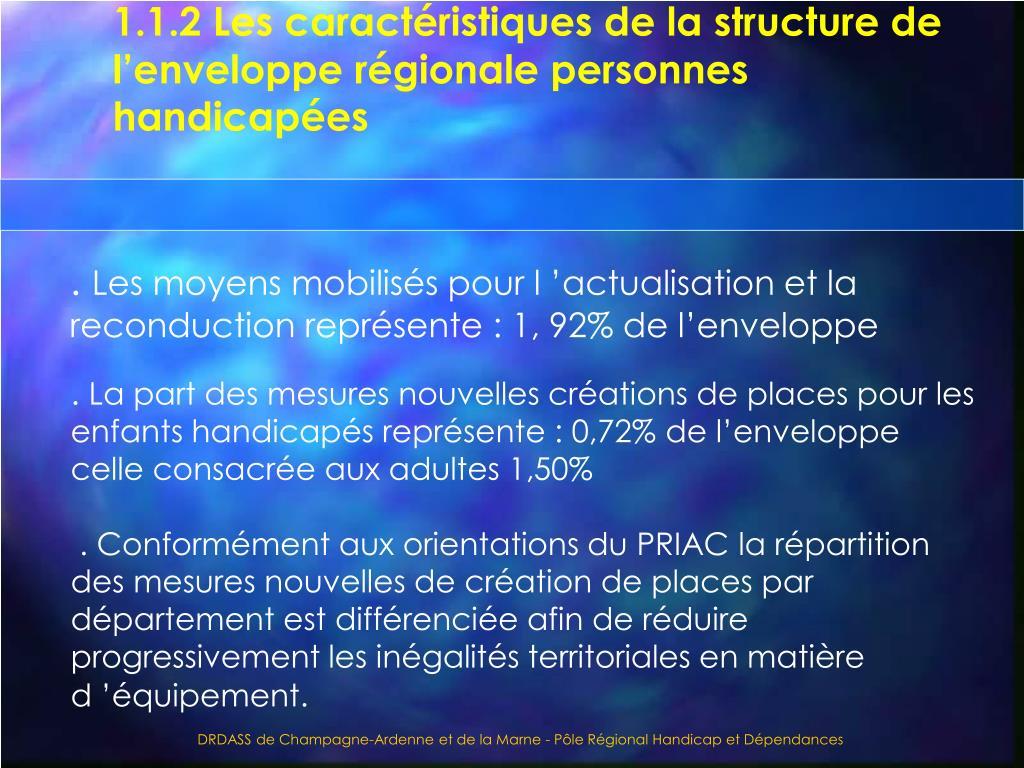 1.1.2 Les caractéristiques de la structure de l'enveloppe régionale personnes handicapées