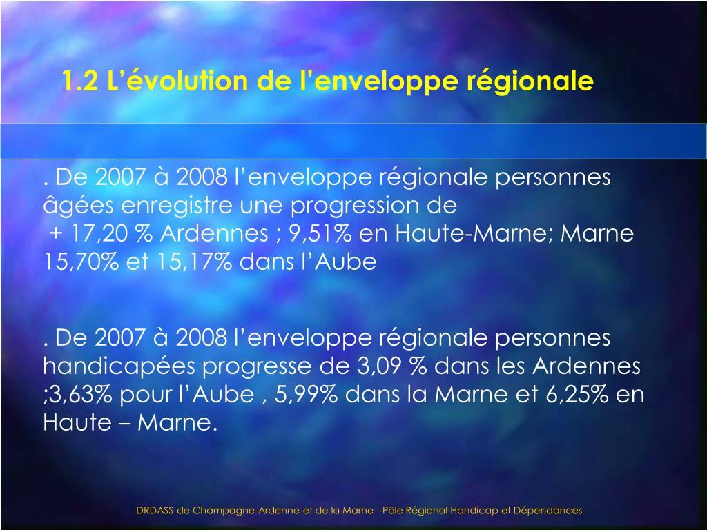 1.2 L'évolution de l'enveloppe régionale