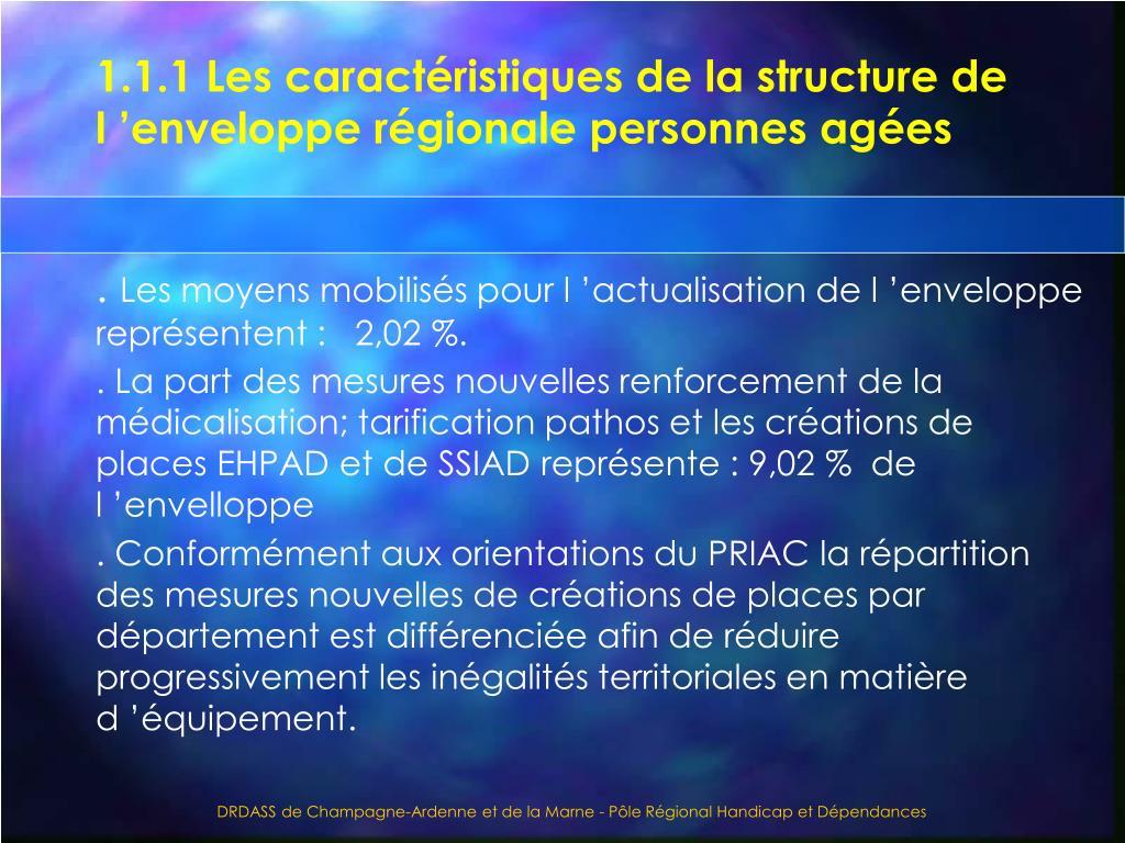 1.1.1 Les caractéristiques de la structure de l'enveloppe régionale personnes agées