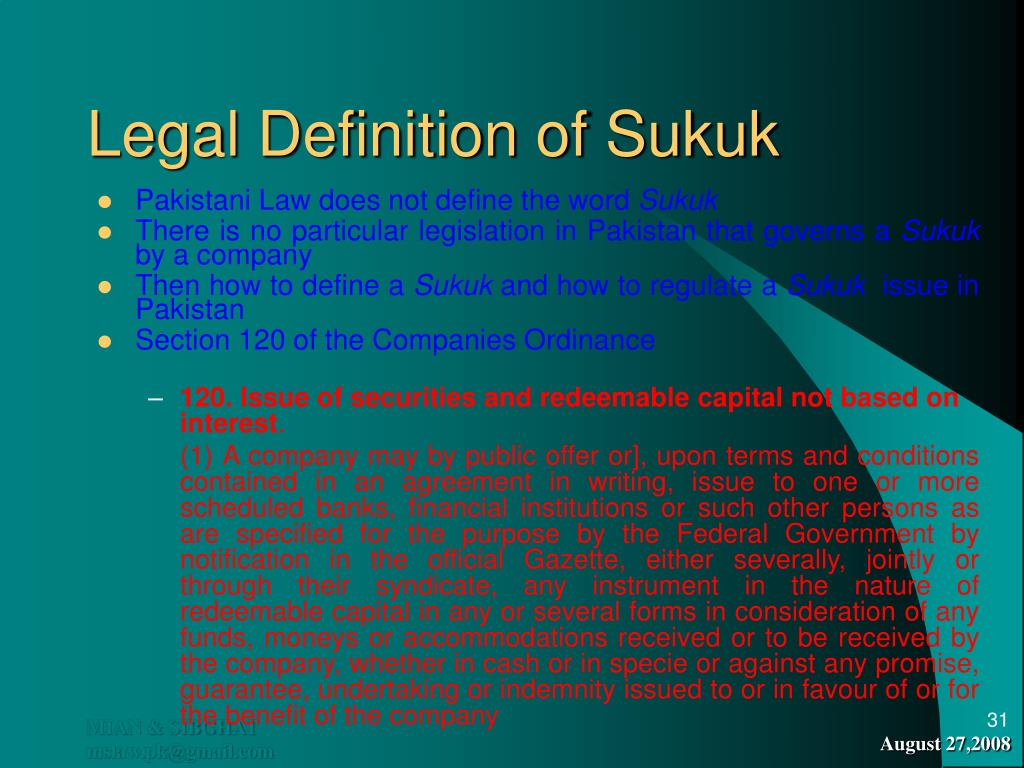 Legal Definition of Sukuk