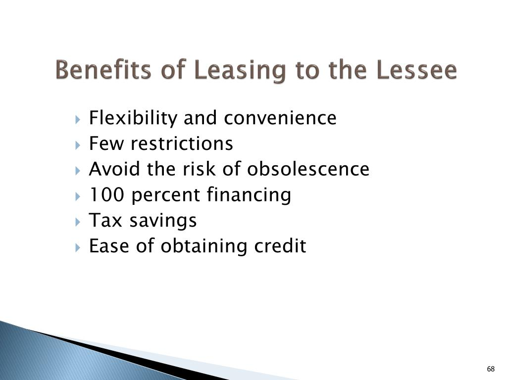 Benefits of Leasing to the Lessee