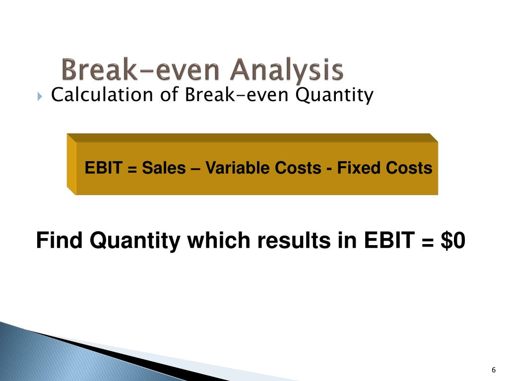EBIT = Sales – Variable Costs - Fixed Costs