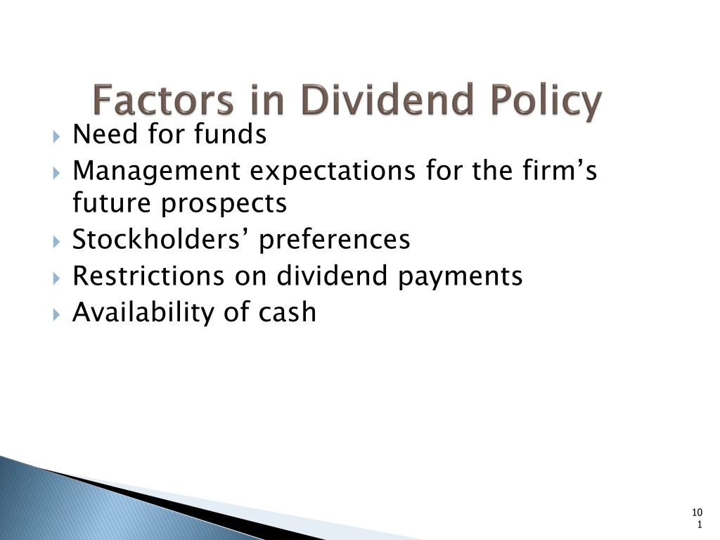 Factors in Dividend Policy