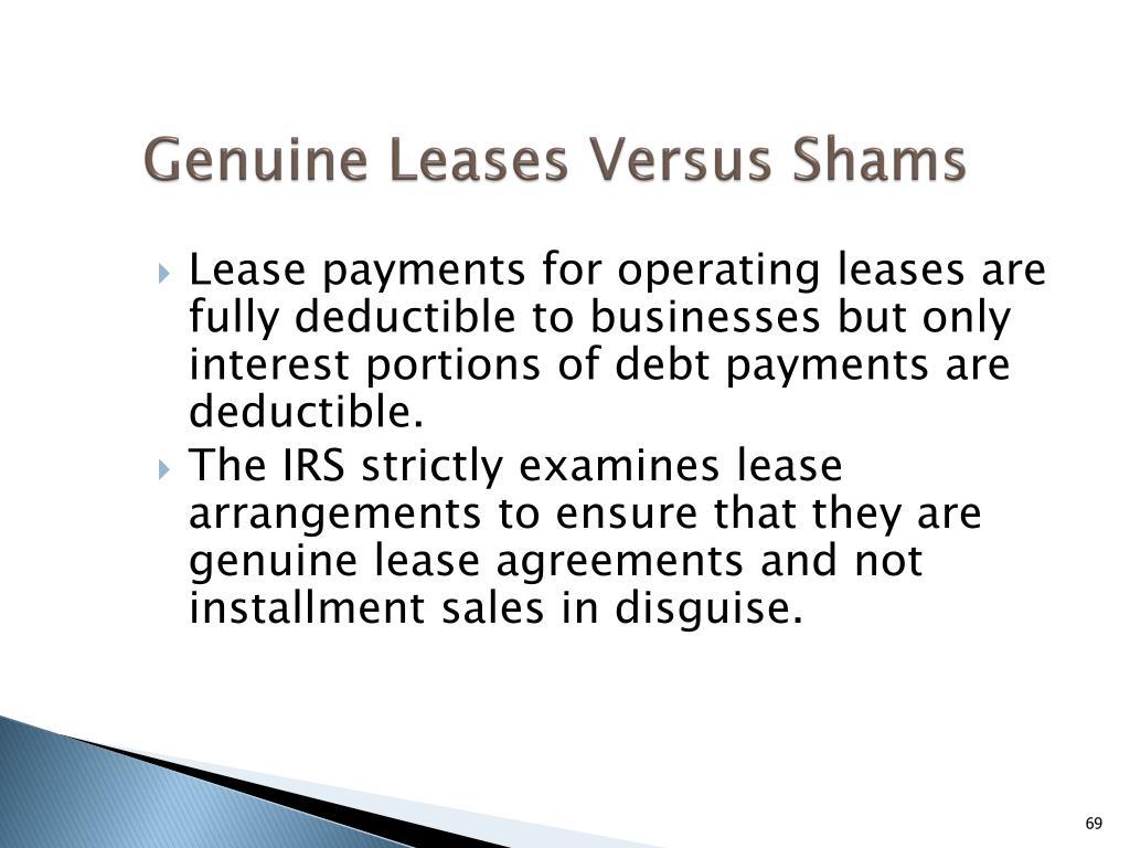 Genuine Leases Versus Shams