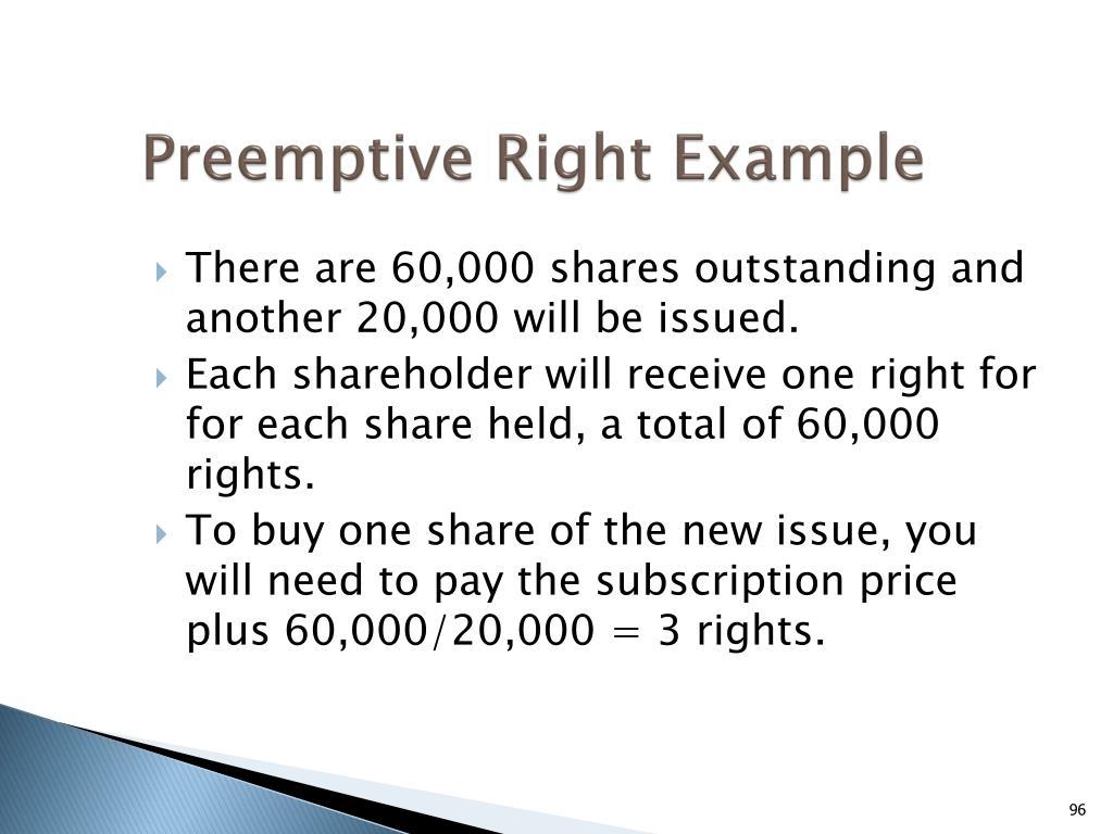 Preemptive Right Example