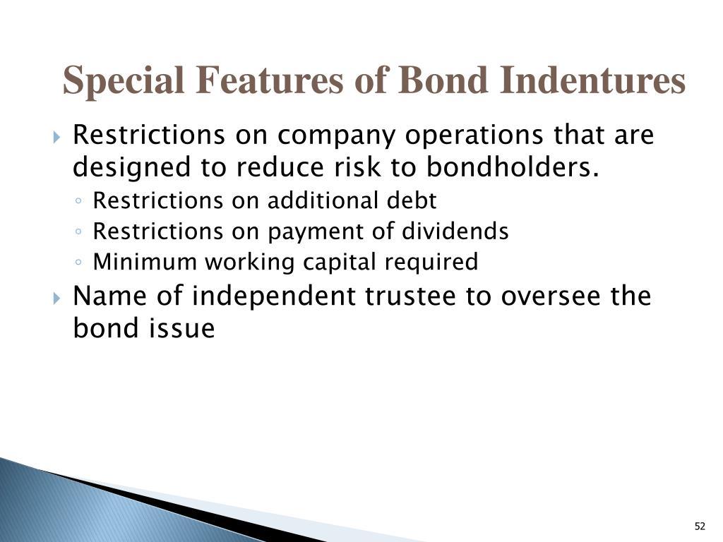 Special Features of Bond Indentures