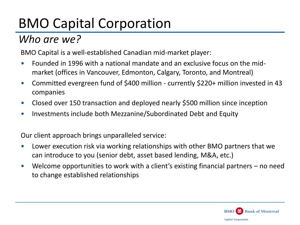 BMO Capital Corporation