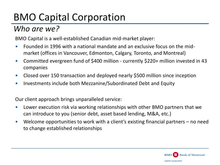 Bmo capital corporation who are we