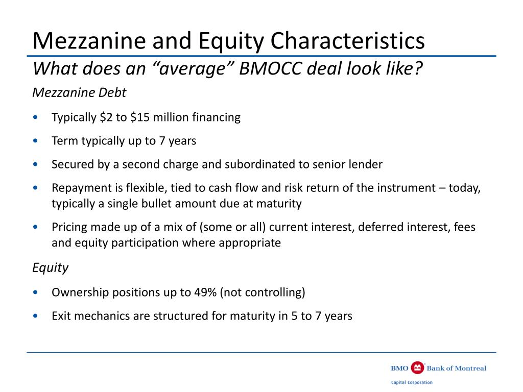 Mezzanine and Equity Characteristics