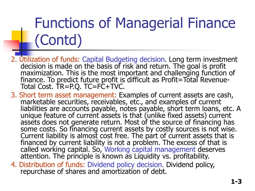 Functions of Managerial Finance (Contd)