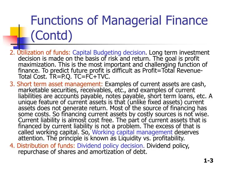 Functions of managerial finance contd