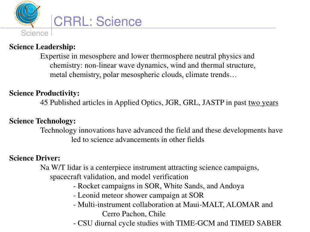 CRRL: Science