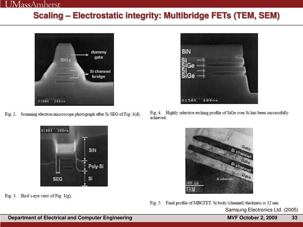 Scaling – Electrostatic integrity: Multibridge FETs (TEM, SEM)