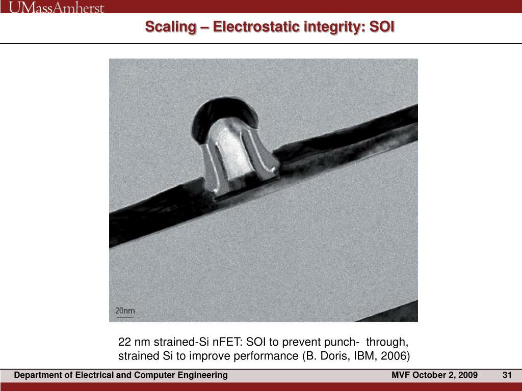 Scaling – Electrostatic integrity: SOI