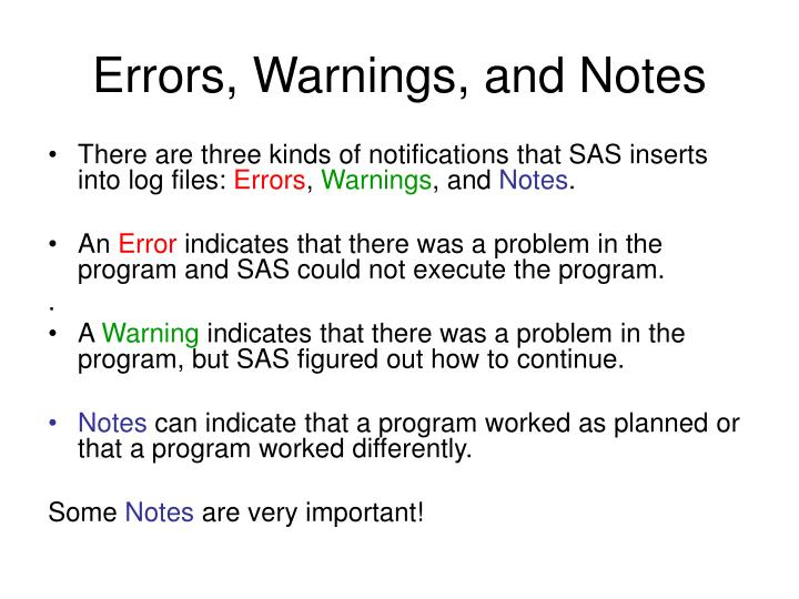 Errors warnings and notes
